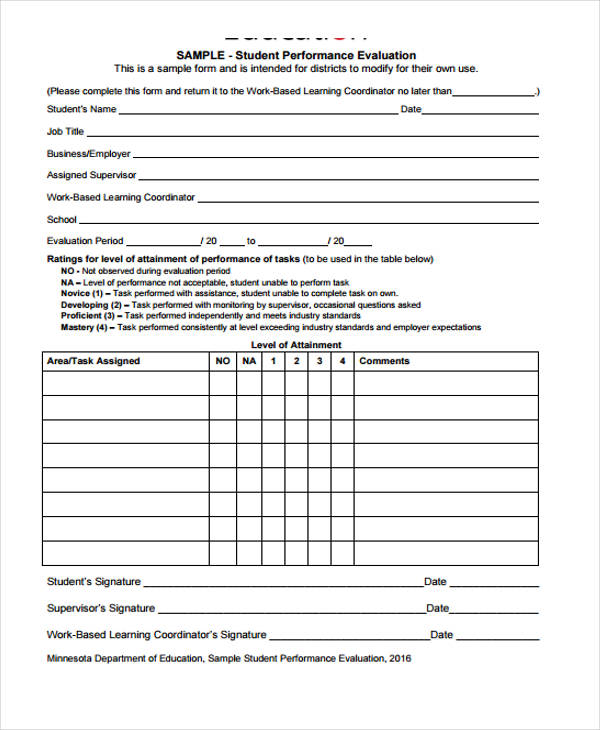 Student Evaluation Form in PDF – Sample Student Evaluation Forms