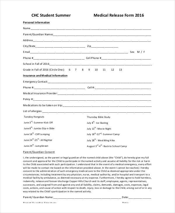 sample summer medical release form