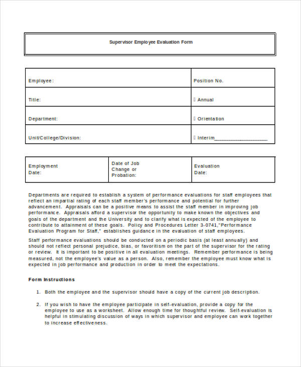 sample supervisor employee evaluation form