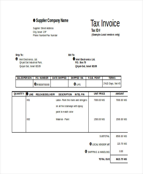 sample supplier invoice form1