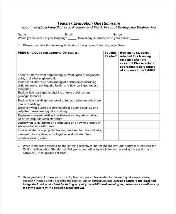 sample teacher evaluation questionnaire
