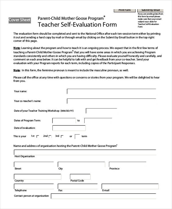 sample teacher self evaluation form