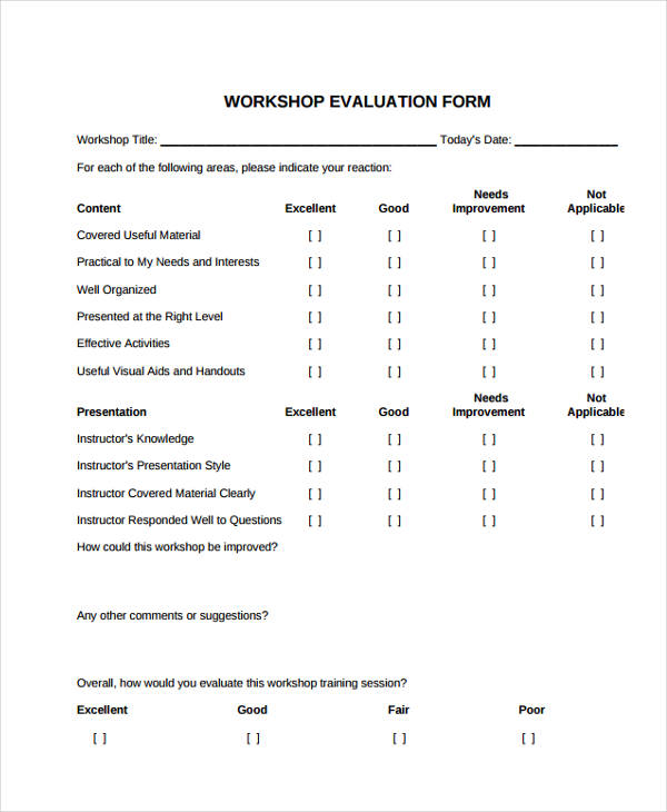 sample training workshop evaluation form