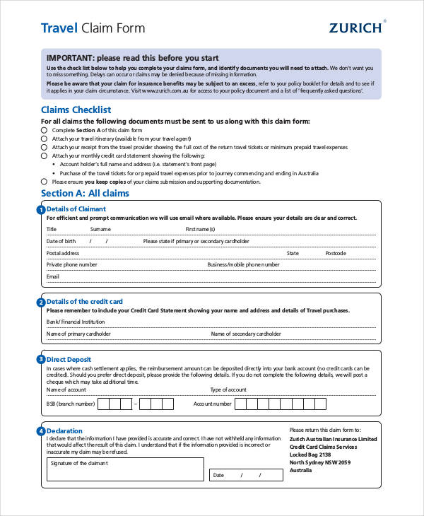 sample travel claim form