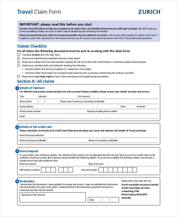 sample travel claim form1
