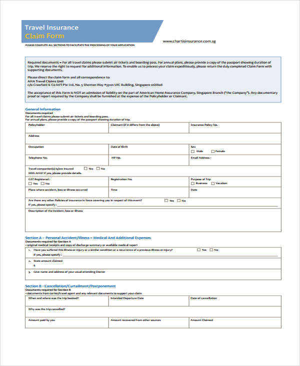 sample travel insurance claim form