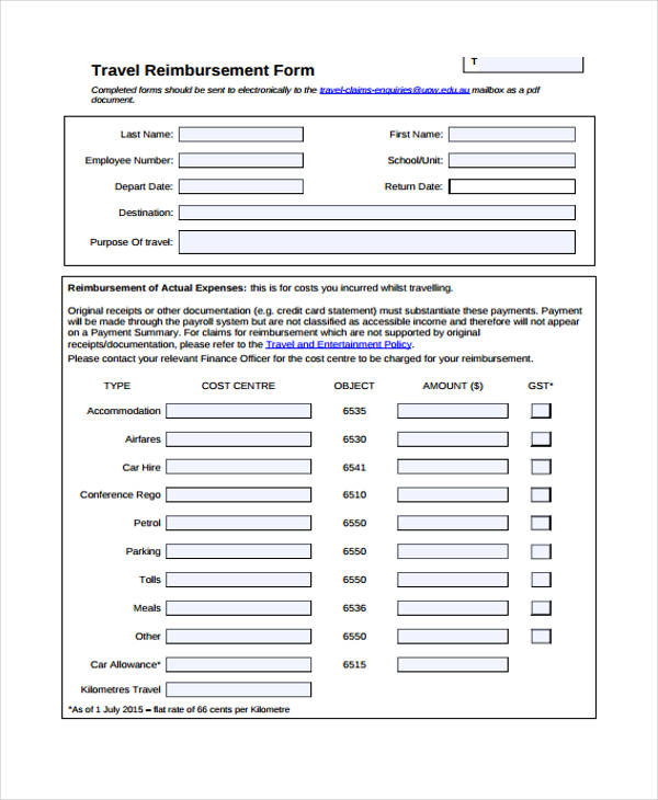 sample travel reimbursement form1