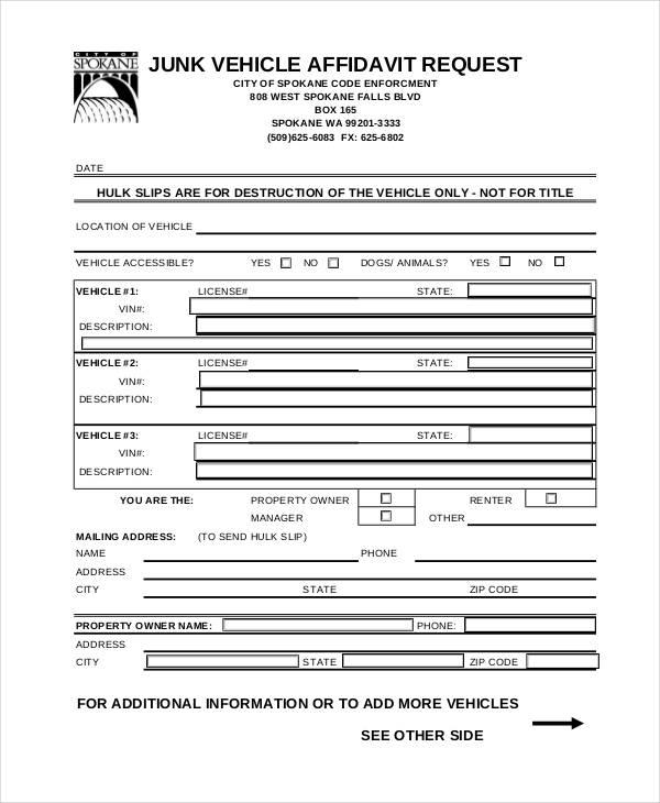 sample vehicle affidavit request form