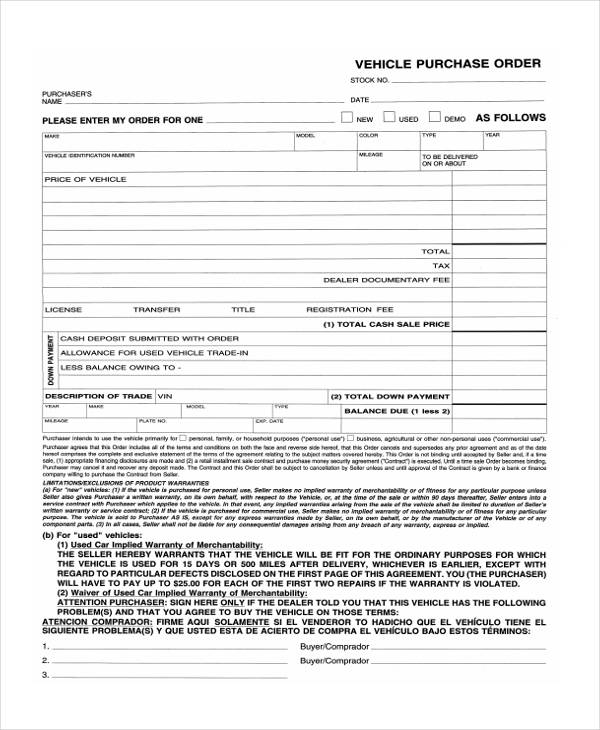 Vehicle Purchase Order Form. Sample Vehicle Purchase Agreement Form