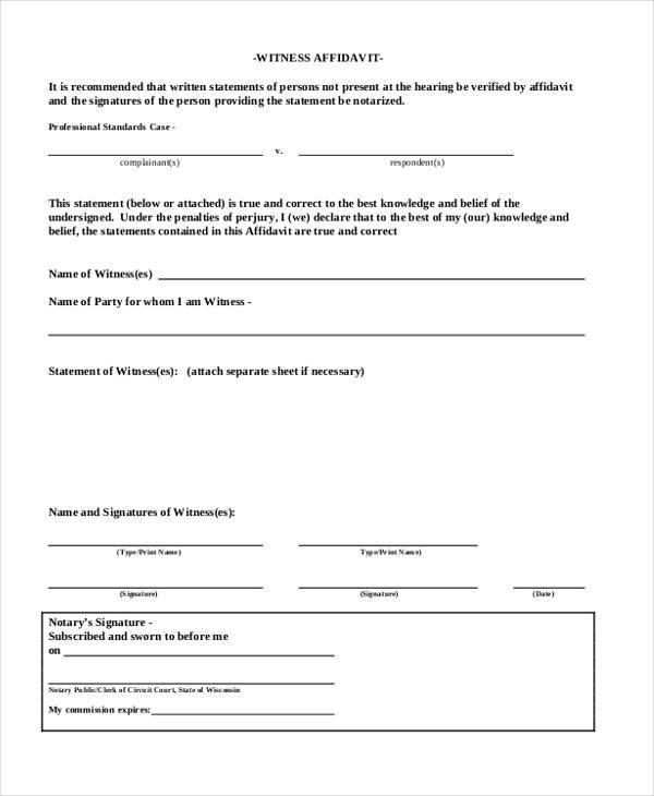 Affidavit Form Template – Affidavit Statement of Facts