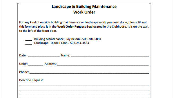 20 sample work order forms