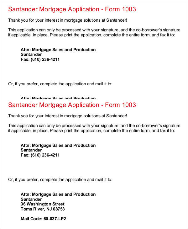 santander mortgage application form