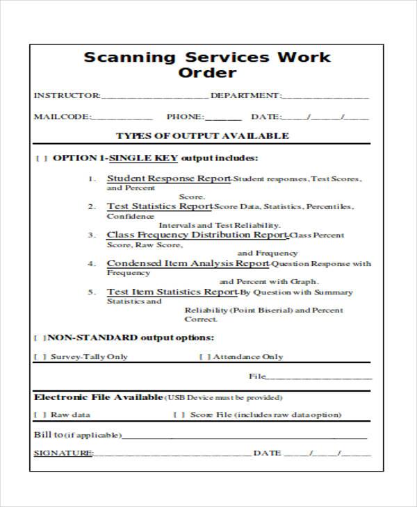 scanning work order service form