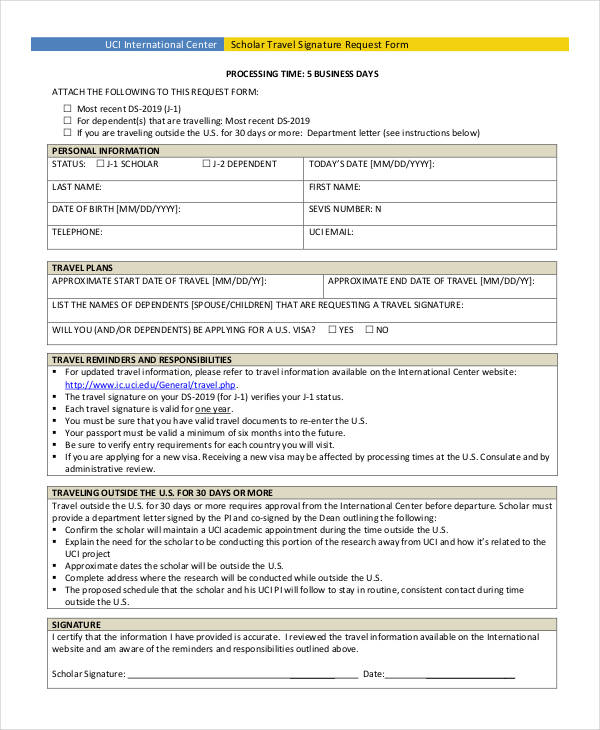 scholar travel signature request form