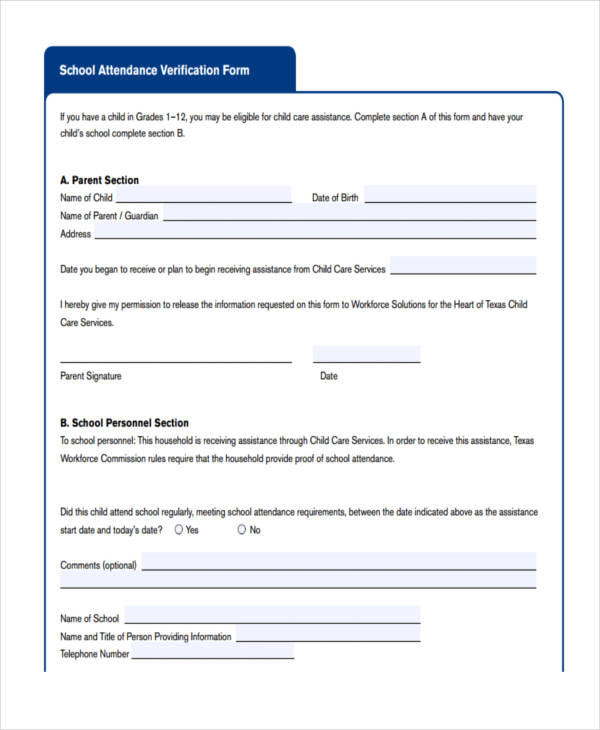 school attendance verification form