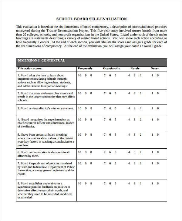 school board self evaluation form