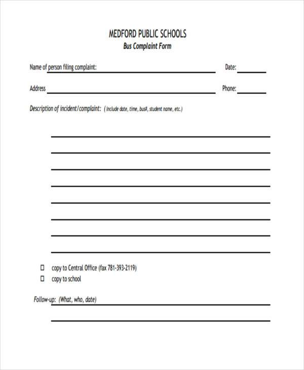 school bus complaint form