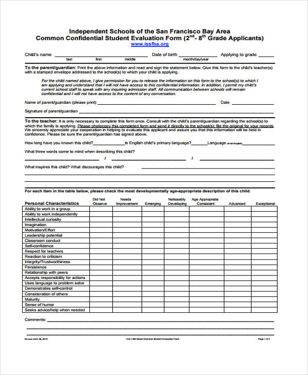 school common student evaluation form1
