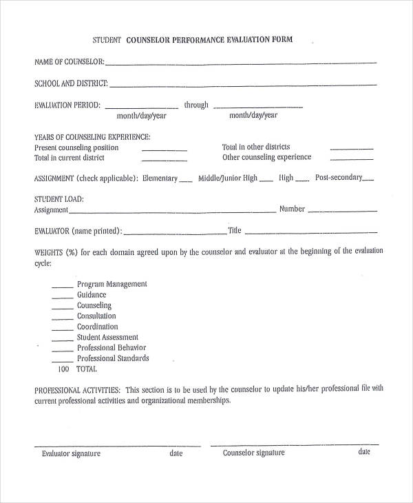 Student Evaluation Form Template – Student Evaluation Forms