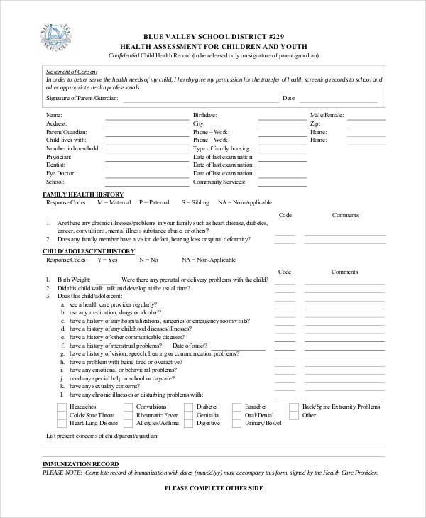 school district health assessment form