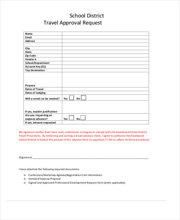 school district travel approval request form