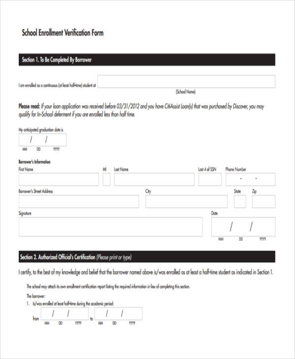 school enrollment verification form