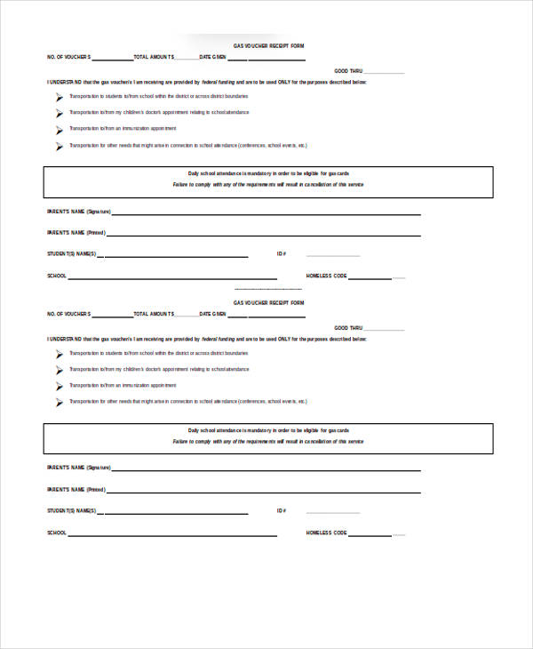 school event receipt form