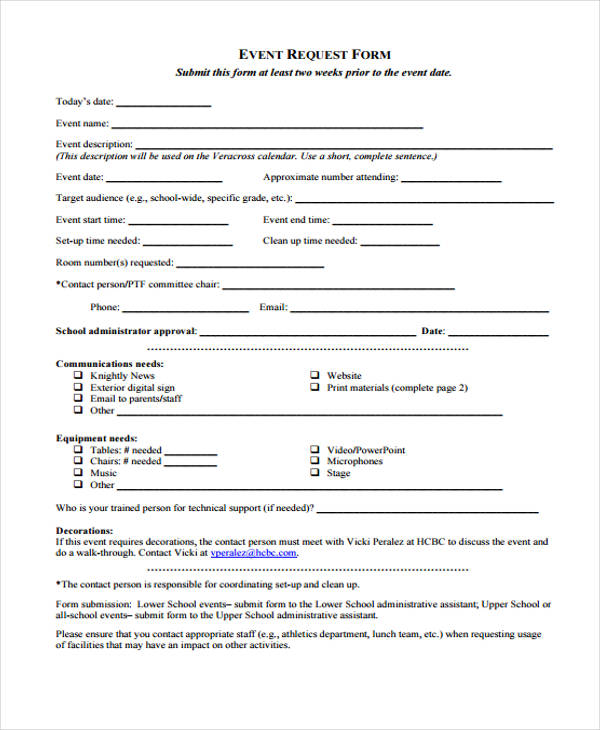 school event request form