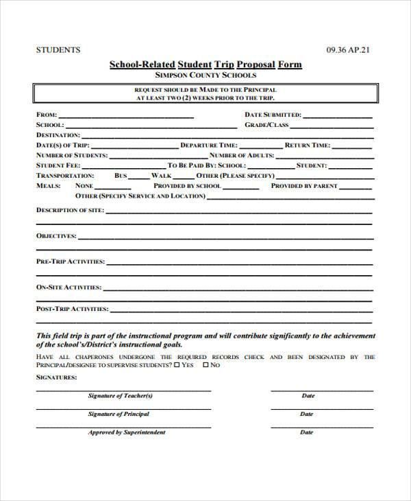 school field trip proposal form