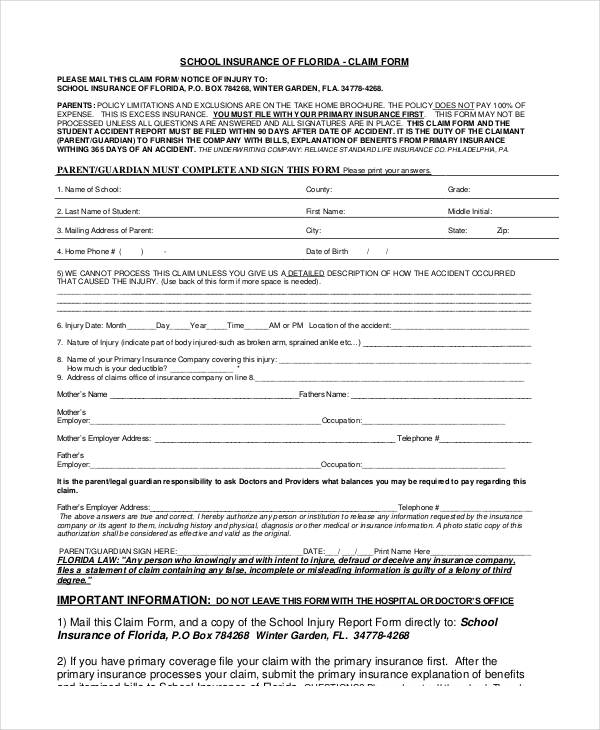 school insurance claim form