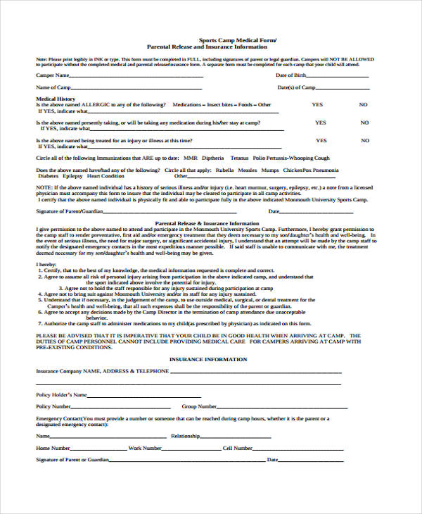 school sports medical release form1
