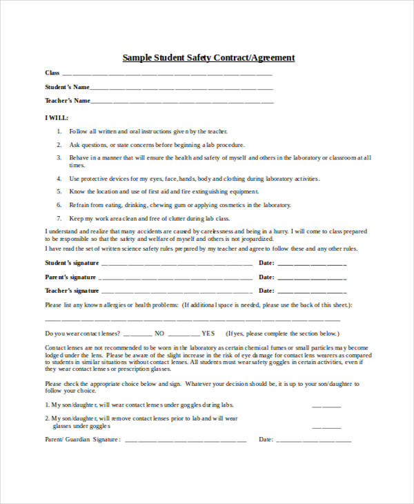 Student Contract Template. Parent Contract 8+ Teacher Contract
