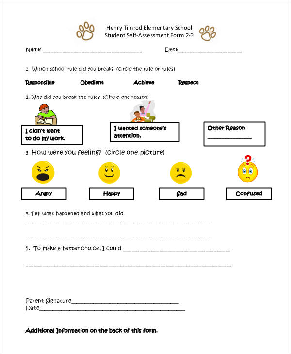 school student self assessment form