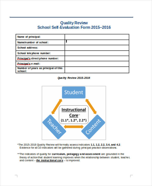 school student self evaluation form