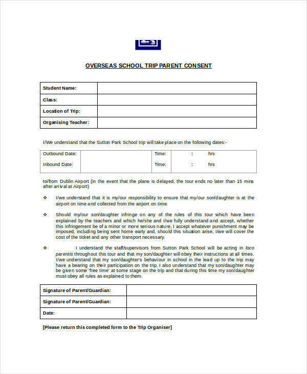 school trip consent form example