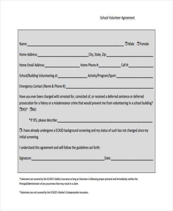 school volunteer agreement form