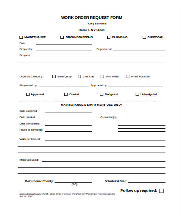 Work Request Form Item  Work Order Forms General Work Order