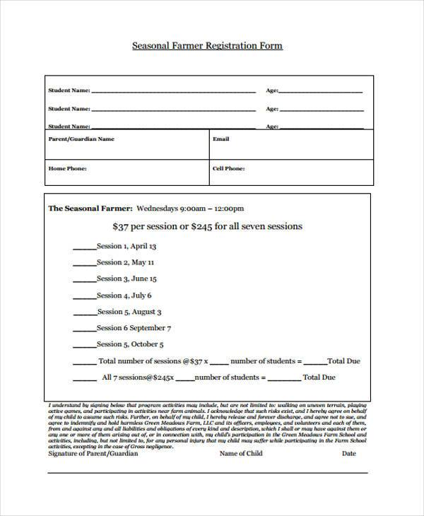 seasonal farmer registration form