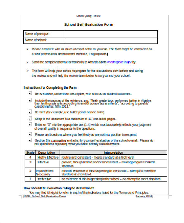 secondary school self evaluation form