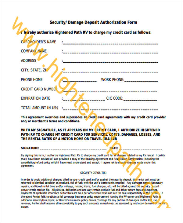 security damage authorization form