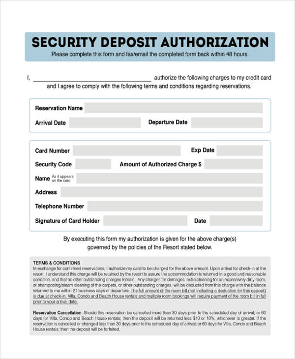 security deposit authorization form in pdf