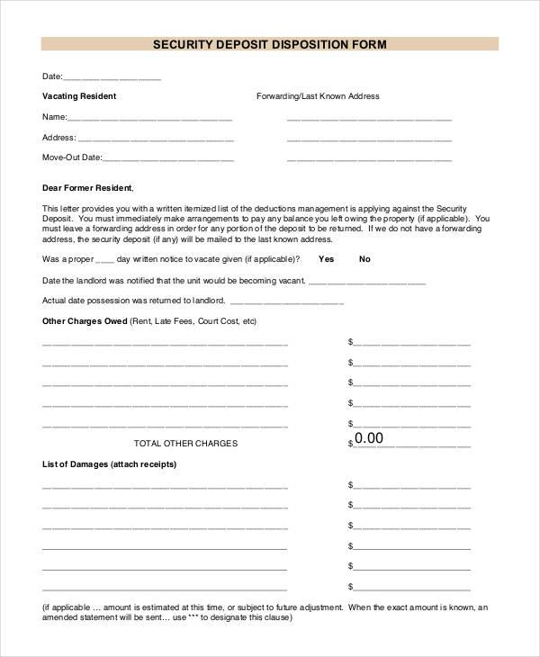 security deposit disposition form1