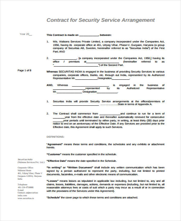 security service contract agreement form