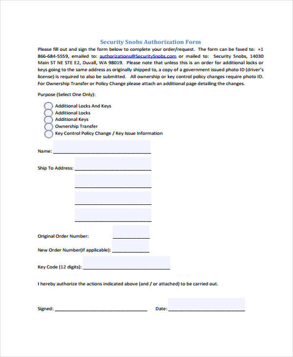 security snobs authorization form