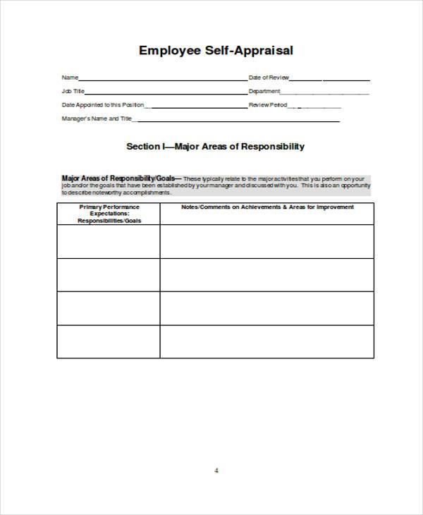 self assessment appraisal form