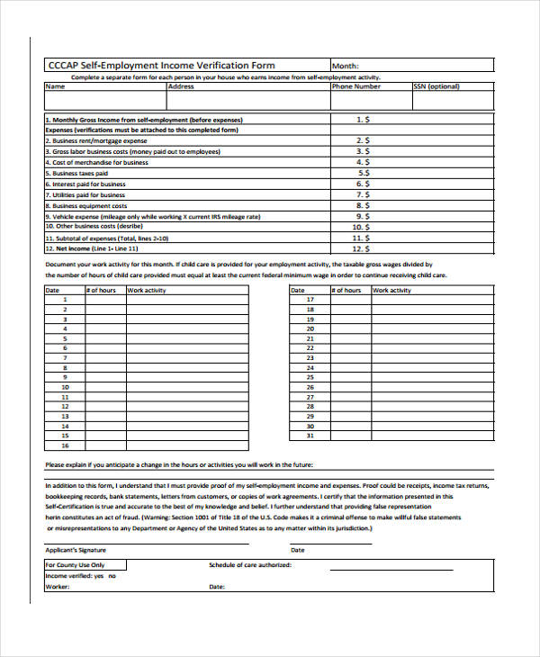 self employment income verification form
