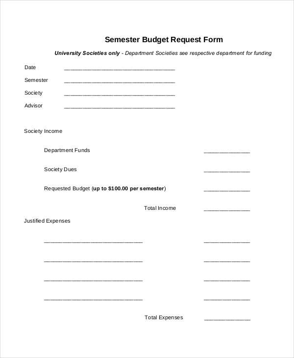 semester budget request form