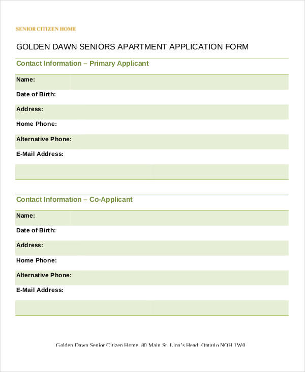 Seniors Apartment Application Form Example