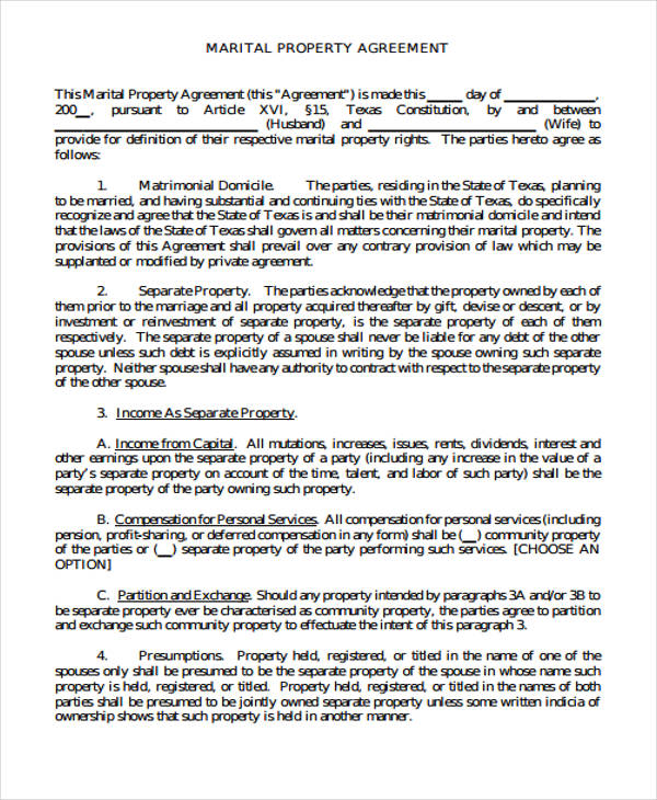 separate property agreement form