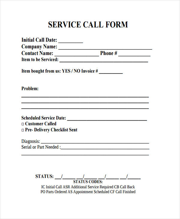 service call form example
